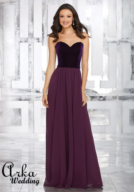 21540_Stretch_Velvet_and_Chiffon_Dress_with_Sweetheart_Neckline