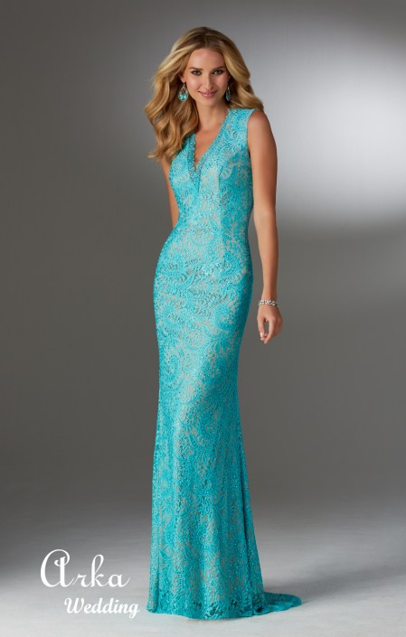 71502_Stretch _Lace Evening Gown with Beading and V-Neckline.