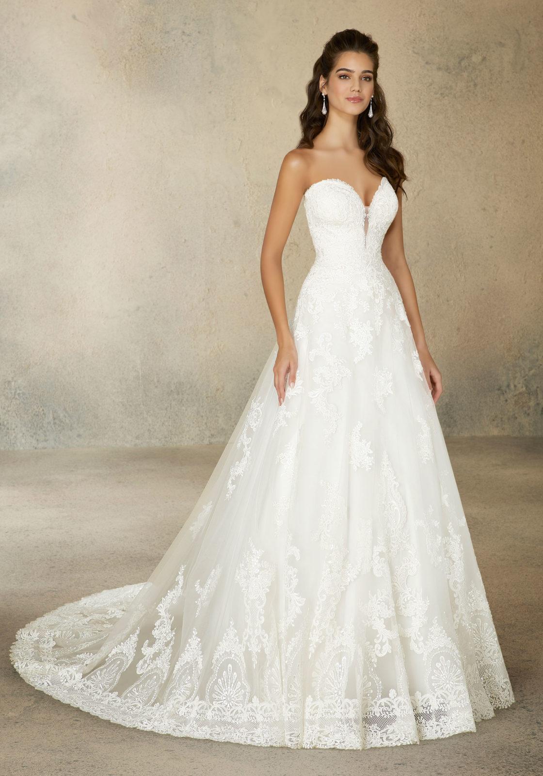 Νυφικό Φόρεμα, MORILEE, Alencon Δαντέλα, σε Άλφα Γραμμή. Style. 2076