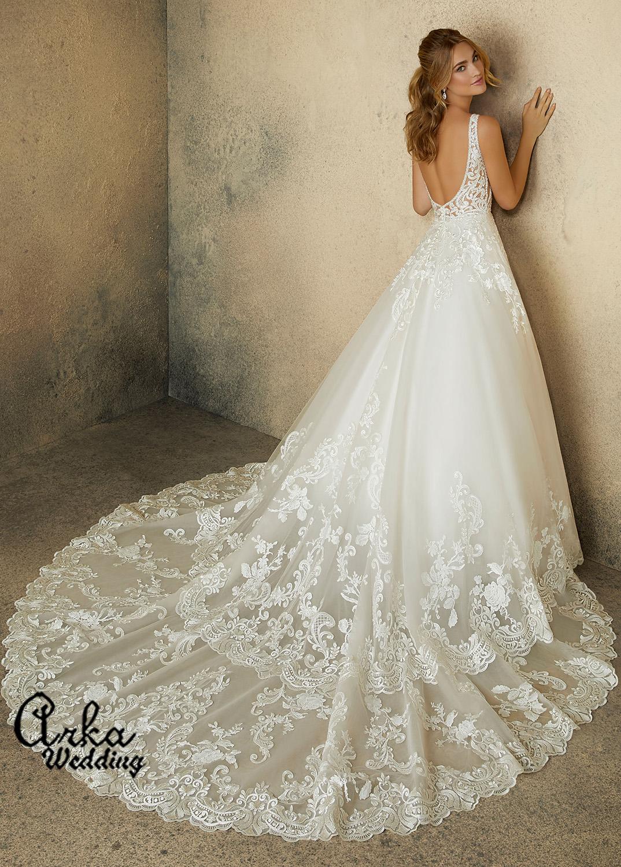 Νυφικό Φόρεμα, Δαντέλα με Κρύσταλλα και . Κωδ. 2089