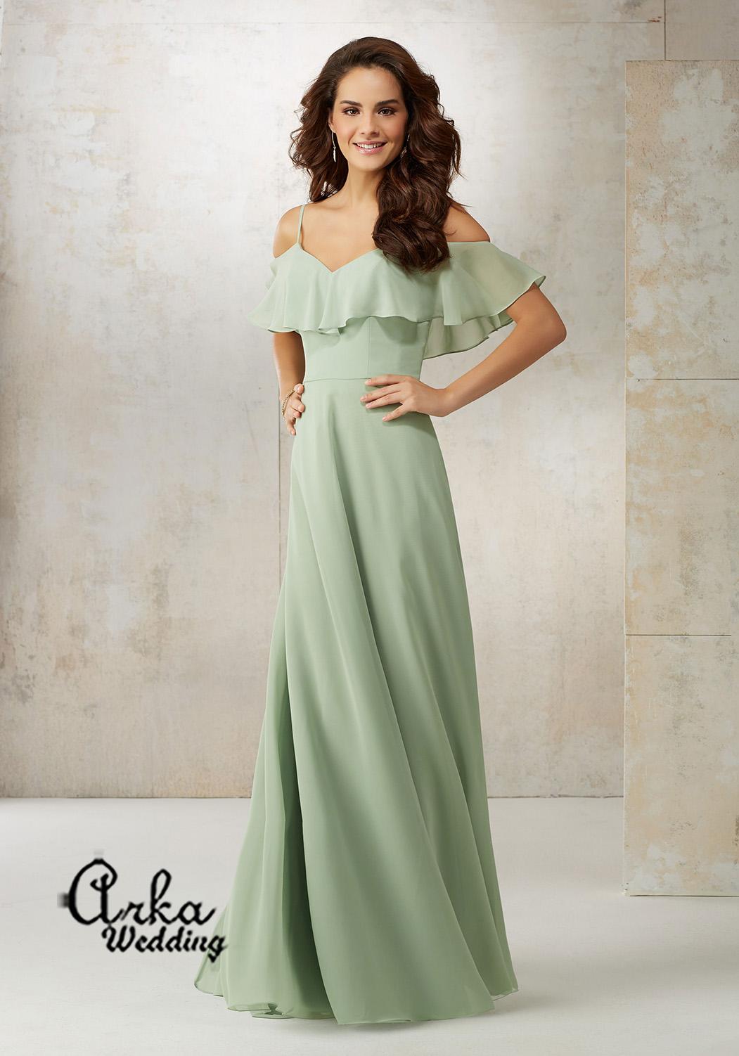 Μακρύ Βραδινό Φόρεμα, Ανάλαφρο, Αέρινο, σε Chiffon. Κωδ. 21509