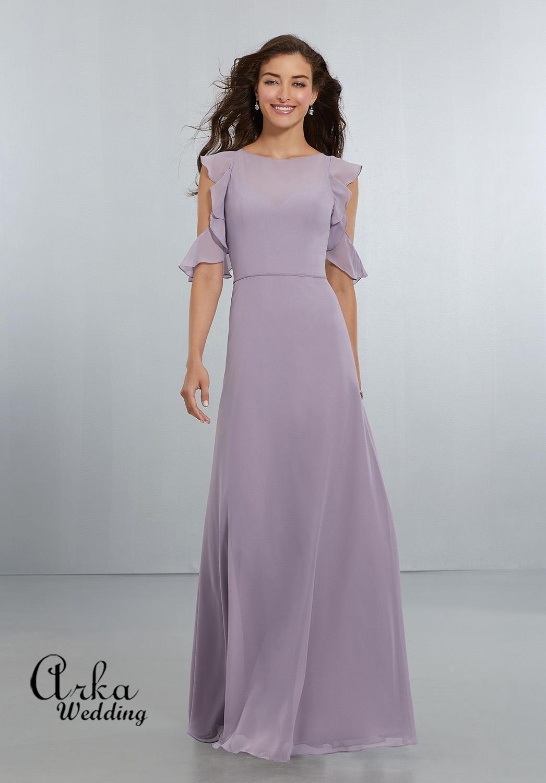 Βραδινό Φόρεμα, από Αέρινο Chiffon, με Μοντέρνο Μανίκι. Κωδ. 21552