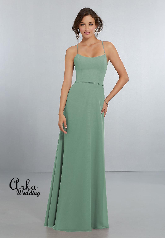 Chic Chiffon Βραδινό Φόρεμα, σε Γραμμή Άλφα. Κωδ. 21559