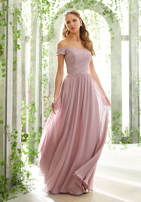 Chantilly Δαντέλα και  Chiffon Βραδινό Φόρεμα. Κωδ. 21602
