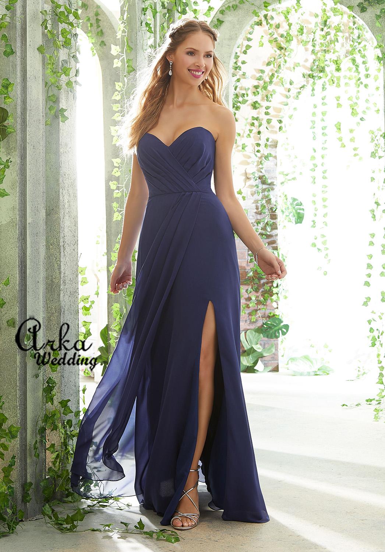 Φόρεμα Chffon, Draped Στράπλες Μπούστο. Κωδ. 21611