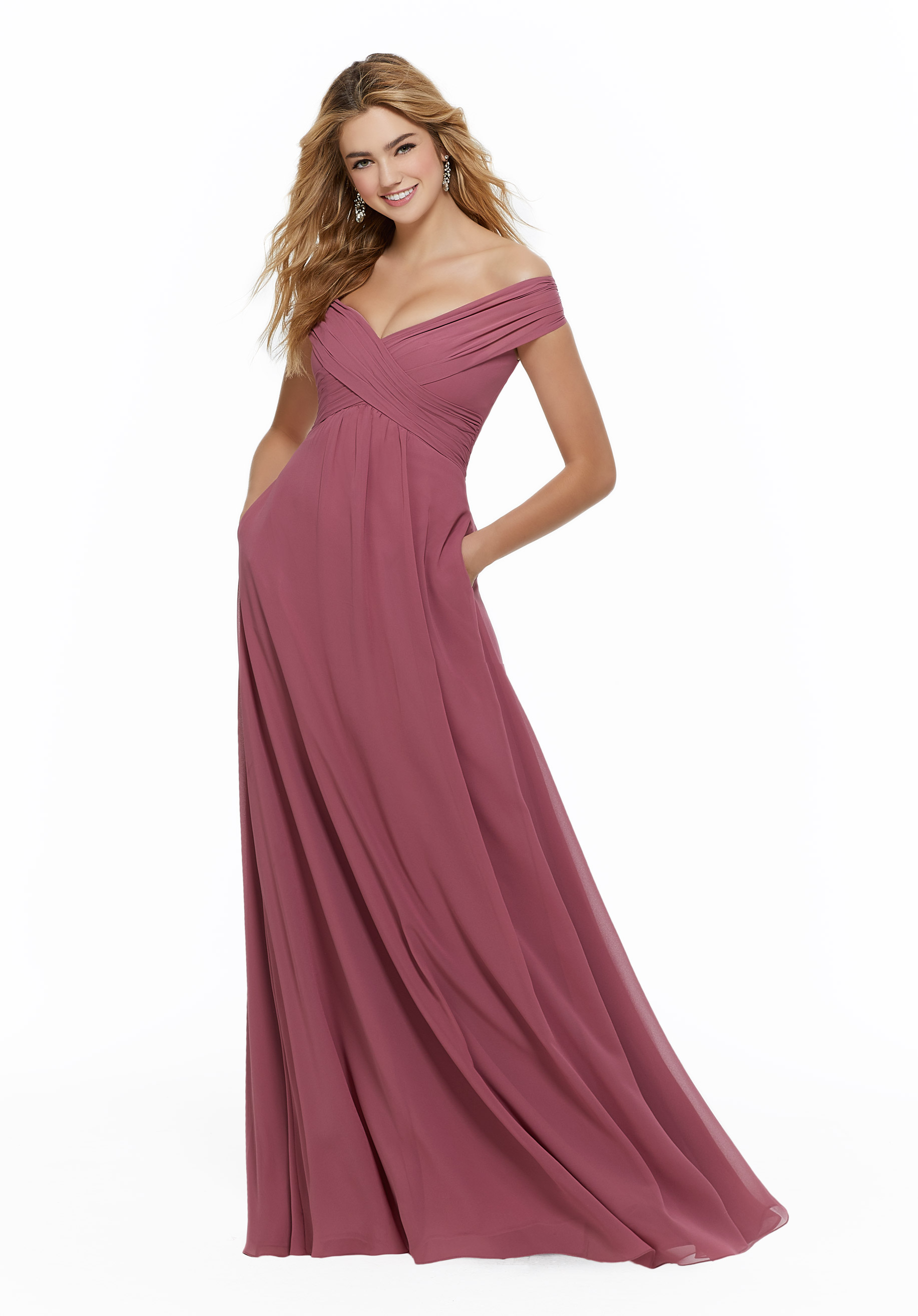 Chiffon  Dress with Classic Off the Shoulder Neckline, Morilee by Madeline Gardner, Style 21646