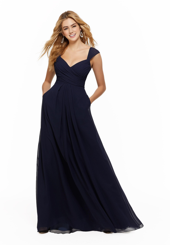 Βραδινό Φόρεμα Morilee, Chiffon,  με Draped Bodice, Style, 21647