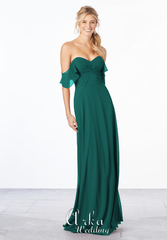 Βραδινό Chiffon Φόρεμα, off the shoulder Μανίκια .Κωδ. 21651