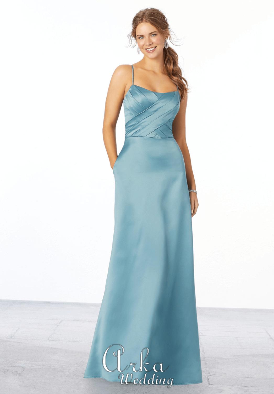 Βραδινό Φόρεμα, Satin, Έξωμο, με Ραντάκια. Κωδ. 21654