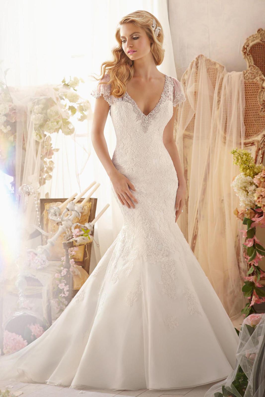 Νυφικό Φόρεμα, Δαντέλα, Morilee, με detachable flutter sleeves. Style,. 2613