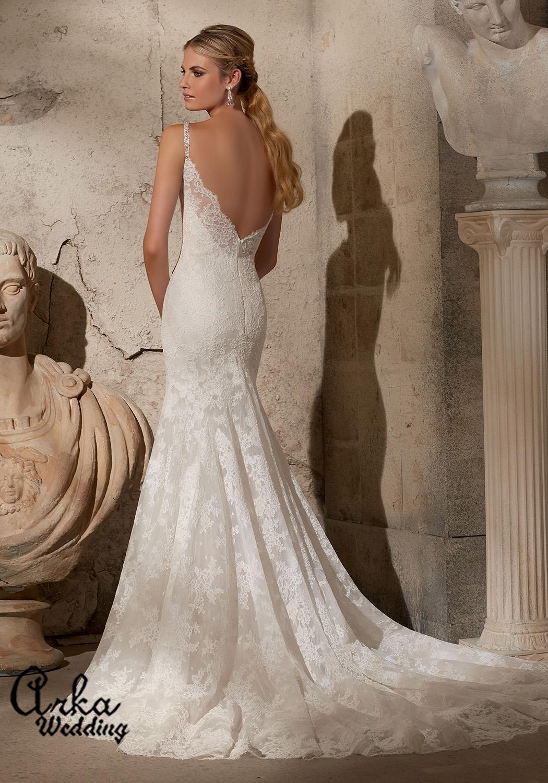 Νυφικό Φόρεμα Δαντέλα Γοργονέ με Μοντέρνα Πλάτη. Κωδ. 2704