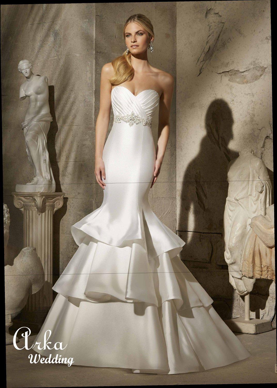 Νυφικό Φόρεμα, Larissa Satin, που Γίνεται και Κοντό. Κωδ. 2722