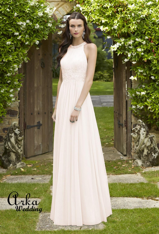 Νυφικό Φόρεμα Απλό, από Chiffon και Δαντέλα. Κωδ. 29213