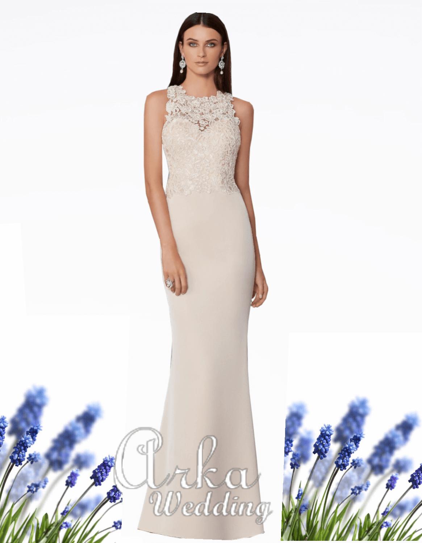 Νυφικό Φόρεμα, από Crepe και Δαντέλα με Φιόγκο στην Πλάτη. Κωδ. 29304