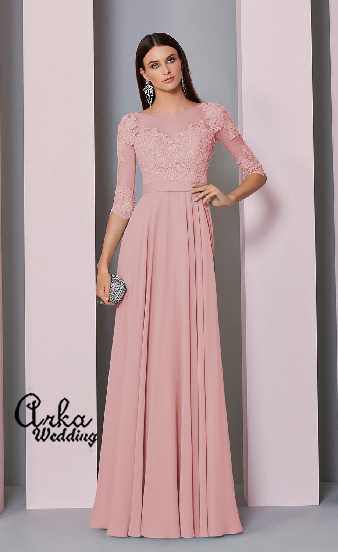 Φόρεμα, Chiffon και Δαντέλα, για Επίσημη Βραδινή Εμφάνιση. Κωδ. 29308
