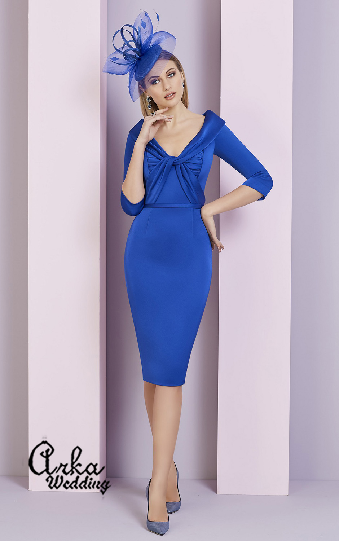 Κομψό Βραδινό Φόρεμα, Crepe, με Μανίκι. Κωδ. 29324