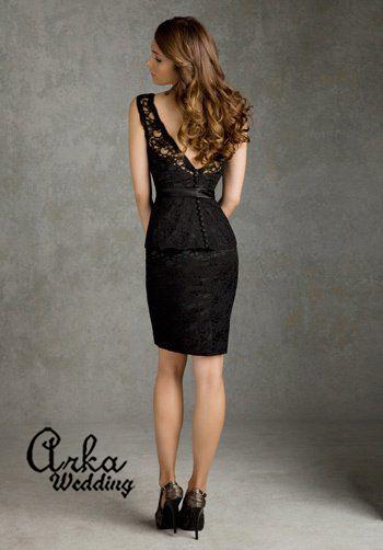 Φόρεμα Βραδινό, Κοντό, Δαντέλα Μαύρη. Κωδ. 31036