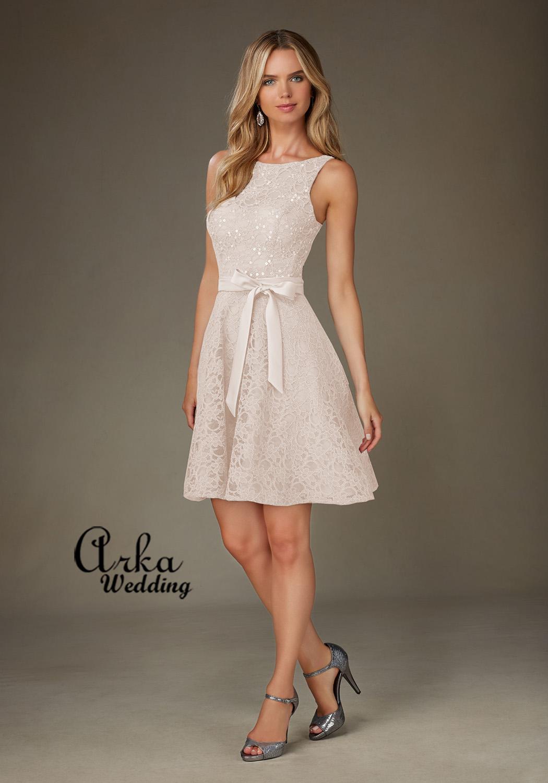 Νυφικό φόρεμα Κοντό από Δαντέλα με Παγιέτα  Κωδ. 31076