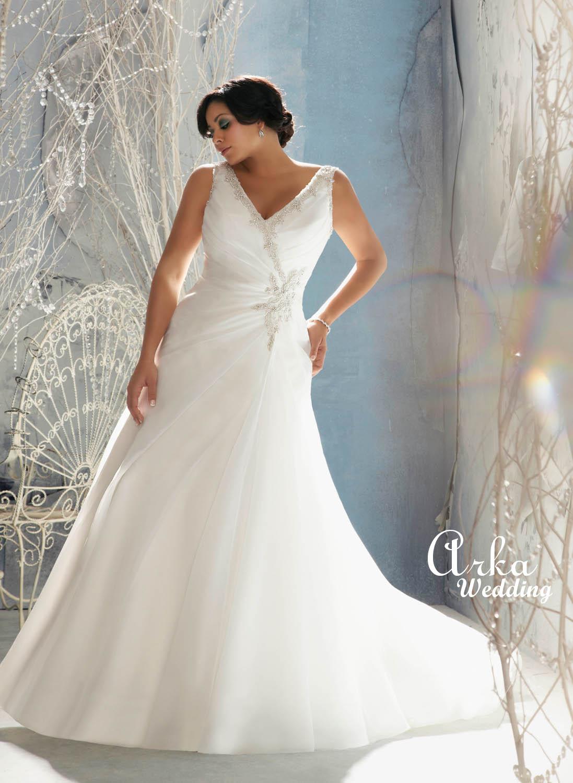 Νυφικό Φόρεμα, Plus Size, για Παχουλή, Κεντημένο, Κωδ. 3142