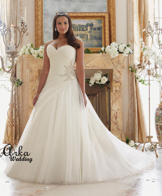 Κομψό Νυφικό Φόρεμα, Στράπλες Organza, Για Παχουλή.. Κωδ. 3203