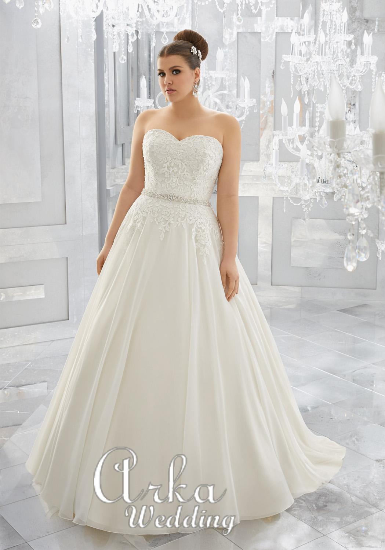Νυφικό Φόρεμα, Στράπλες Καρδούλα, για Παχουλή Νύφη. Κωδ. 3224