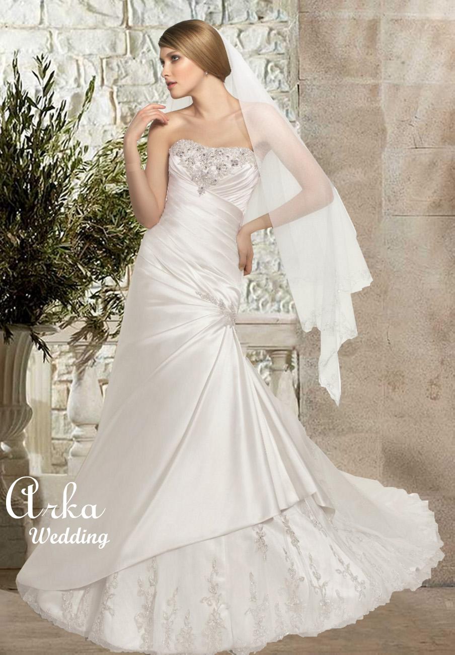 Νυφικό Φόρεμα, με Κεντημένο Μπούστο και Φούστα. Κωδ 36029