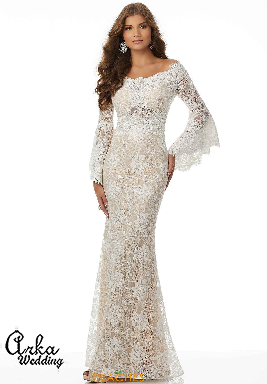 Νυφικό Φόρεμα, Δαντέλα Γοργονέ  με Μικρή Ουρά. Κωδ. 42082