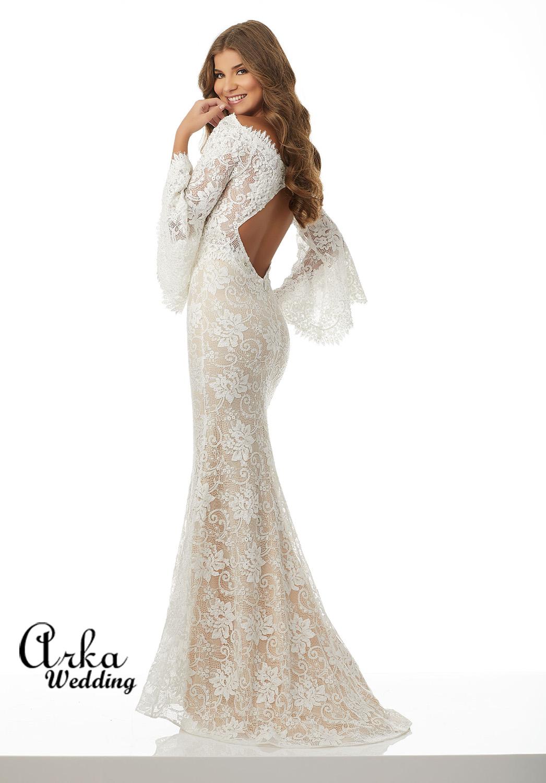 Νυφικό Φόρεμα, Δαντέλα Ολόσωμη, Στενή, με Μικρή Ουρά. Κωδ. 42082