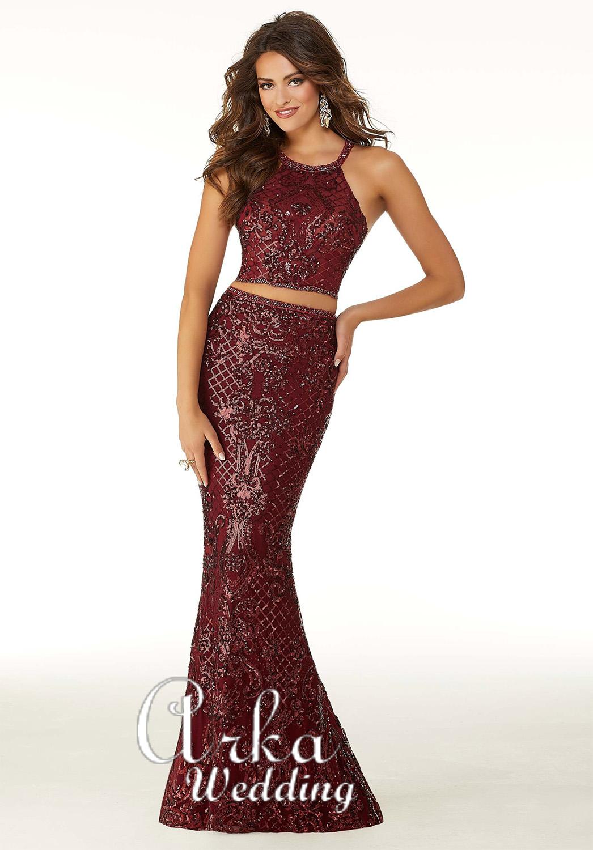 Φόρεμα Βραδινό, Top Crop με Παγιέτες. Κωδ. 45038
