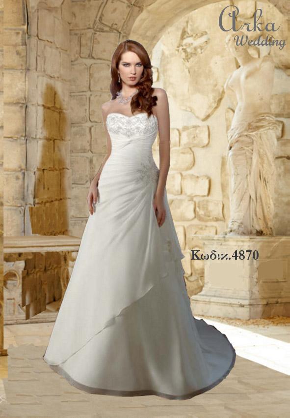 Νυφικό Φόρεμα Delicate Ταφτάς, με Αέρινη Φούστα. Κωδ. 4870