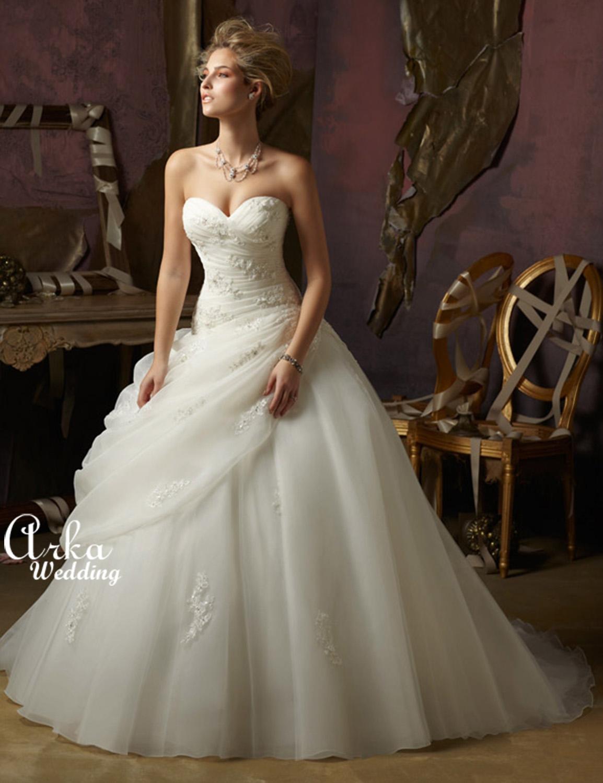 Νυφικό Φόρεμα, με Δαντέλα σε Organza, και Τούλι. Κωδ. 4973