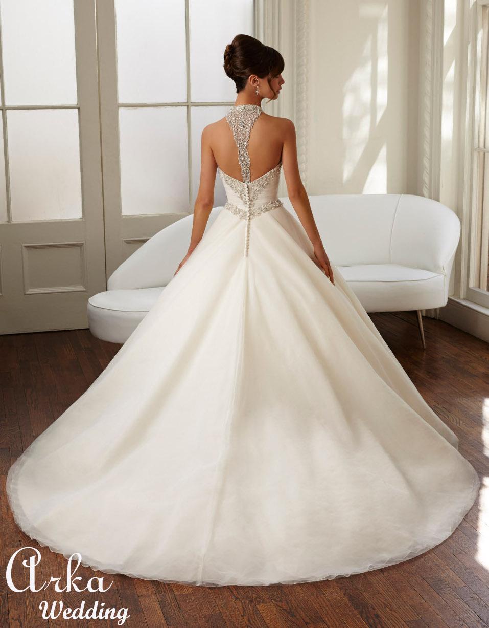 Νυφικό Φόρεμα, με Πλούσια Φούστα, Satin, με  Κέντημα Κωδ. 51023