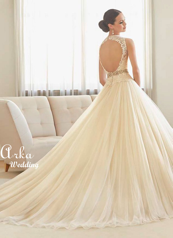 Νυφικό Φόρεμα, Δαντέλα, σε Γραμμή  Άλφα Κεντημένη Κωδ. 51125