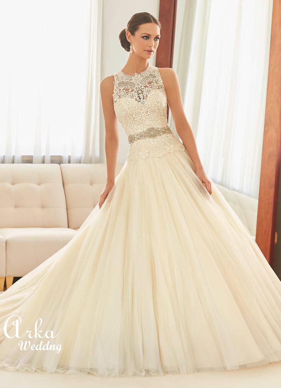 Νυφικό Φόρεμα, Guipure Δαντέλα Κεντημένη  Κωδ. 51125