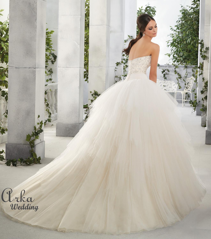 Νυφικό Φόρεμα, Στράπλες Μπούστο Κεντημένο, Πλούσια Φούστα. Κωδ. 51201
