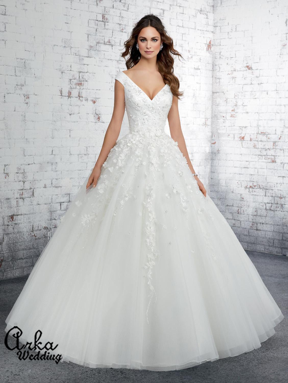Νυφικό Φόρεμα, Κεντημένο Floral 3D . Κωδ. 51414