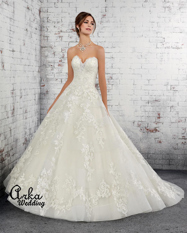 Νυφικό Φόρεμα, Strapless Δαντέλα, Γραμμή Άλφα. Κωδ. 51427