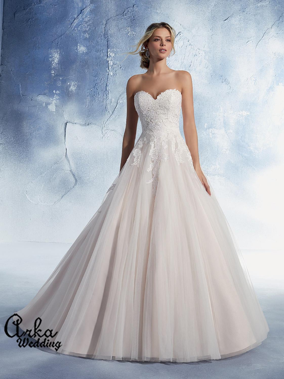 Νυφικό Φόρεμα, Αέρινη Δαντέλα, Κεντημένη Τούλι Φούστα. Κωδ. 51482