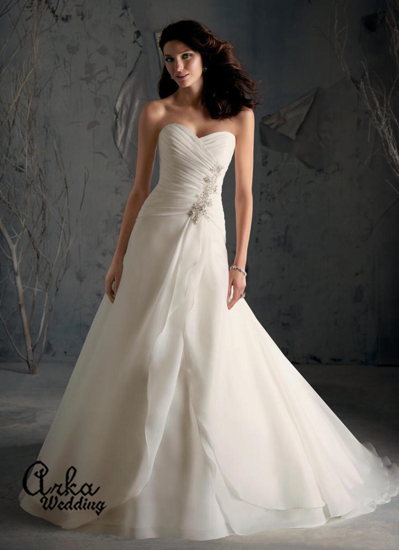 Νυφικό Φόρεμα, Απλό, και Αέρινο, από Satin Organza. Κωδ. 5169