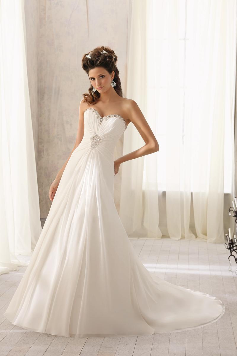 Νυφικό Φόρεμα, Αέρινη, κομψή, Μουσελίνα. Κωδ. 5205