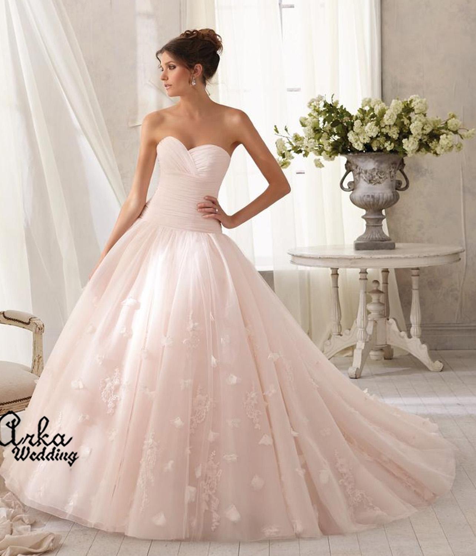 Νυφικό Φόρεμα, Ροζ, Κεντημένο με Λουλούδια από Δαντέλα. Κωδ. 5209