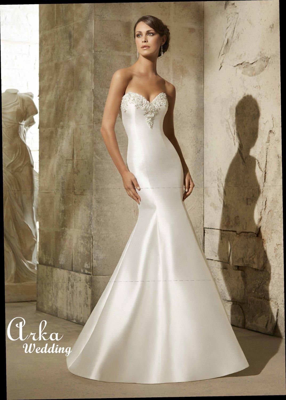 Νυφικό Φόρεμα Γοργονέ, Larissa Satin Απλό, Κεντημένο Κωδ. 5304