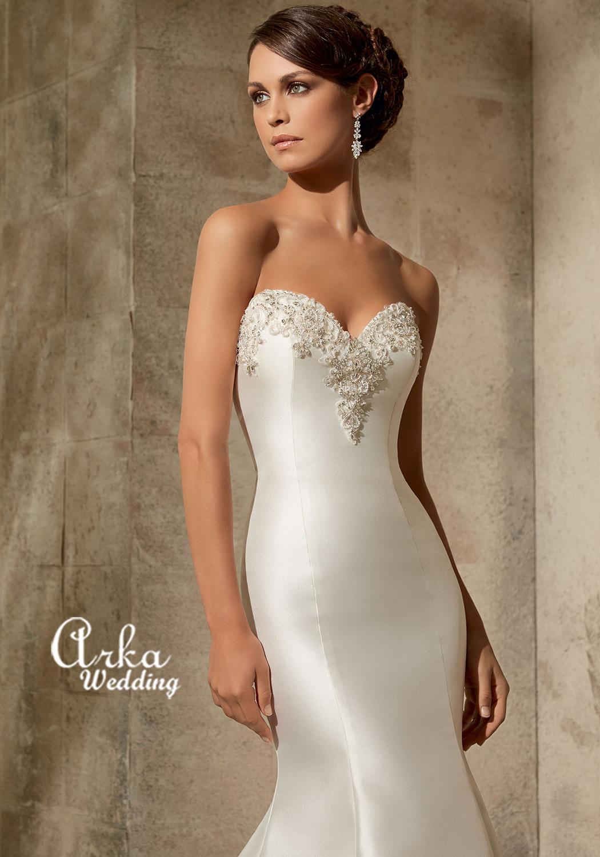 c8ecdbb26f8 Νυφικό Φόρεμα Γοργονέ, Larissa Satin Κεντημένο Κωδ. 5304