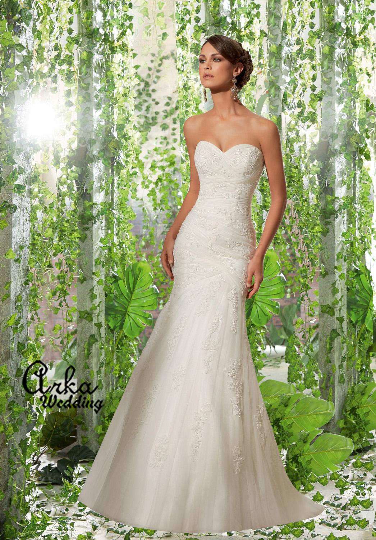 Νυφικό Φόρεμα Στράπλες Γοργονέ Κεντημένο. Κωδ. 5309
