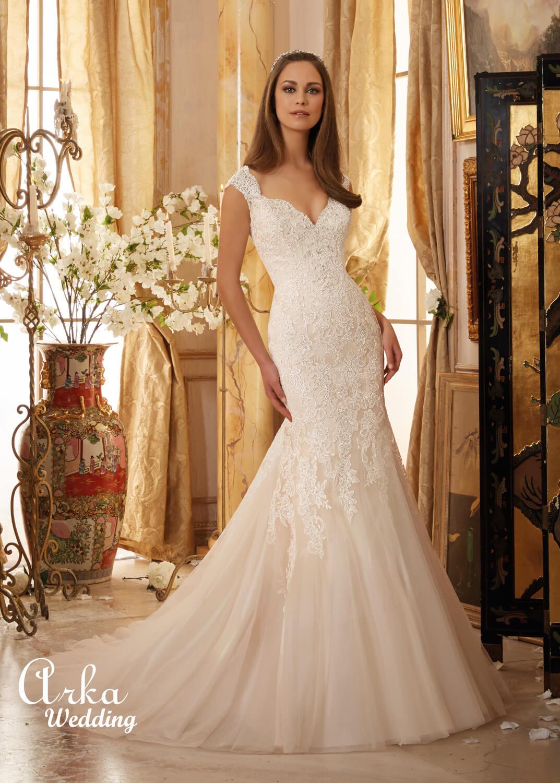 Νυφικό Φόρεμα, Alencon Δαντέλα, Κεντημένη με Κρύσταλλα. Κωδ. 5472