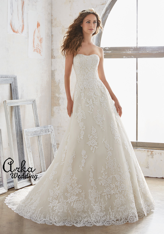Νυφικό Φόρεμα, Α Γραμμή Δαντέλα Alencon Αππλικέ. Κωδ. 5502