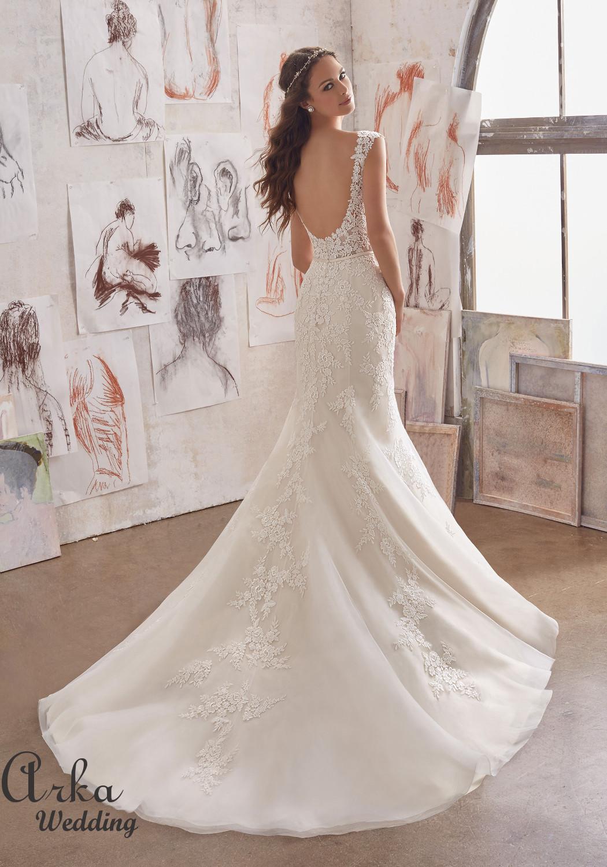 Νυφικό Φόρεμα, Γοργονέ, Κεντημένο με Δαντέλα. Κωδ. 5509