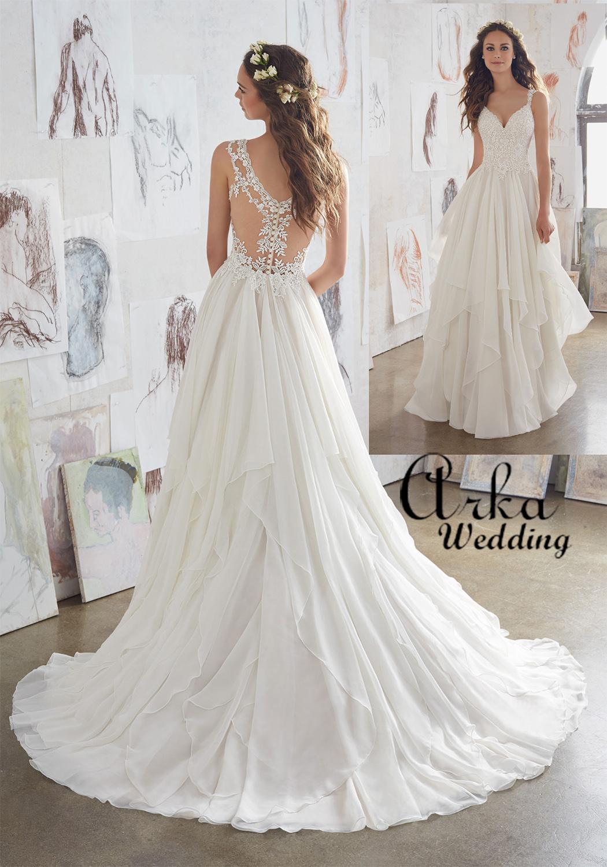 Νυφικό Φόρεμα, Φούστα με Βολάν. και Δαντέλα  Τοπ, Κωδ. 5512