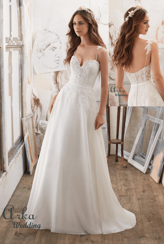 Νυφικό Φόρεμα, Alencon Δαντέλα, Κεντημένη σε Chiffon. Κωδ. 5514