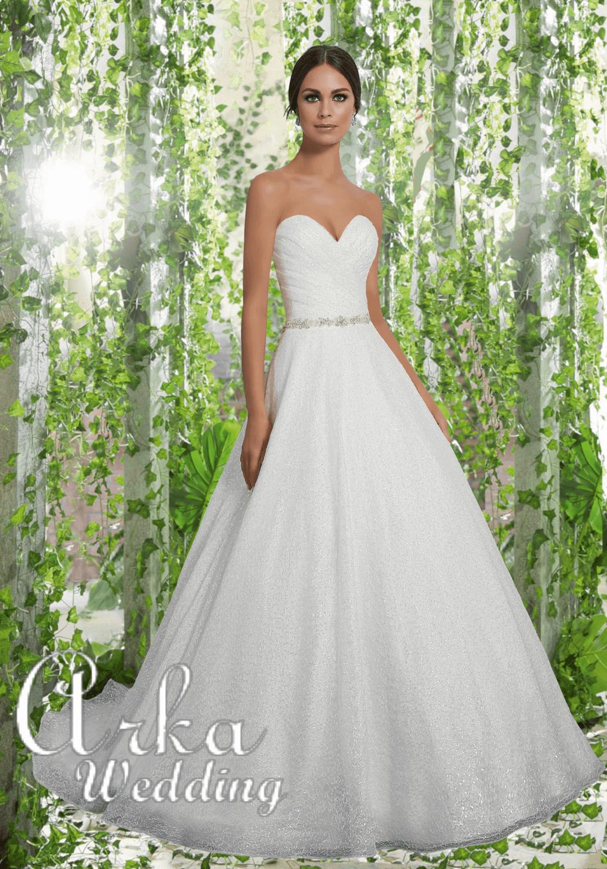 Αστραφτερό Νυφικό Φόρεμα, Δαντέλα, με Κεντημένη Ζώνη. Κωδ. 5611